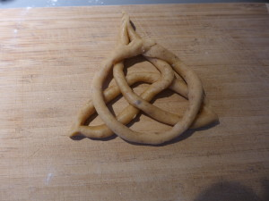 Celtic Cross cookie dough ready to bake.